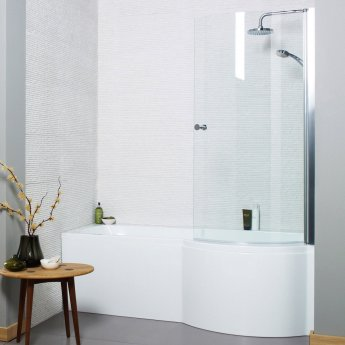 Prestige Adapt P-Shaped Shower Bath with Panel and Screen 1700mm x 700mm/850mm Right Handed