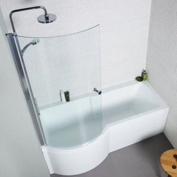 Prestige Adapt P-Shaped Shower Bath with Panel and Screen 1700mm x 700mm/850mm Left Handed