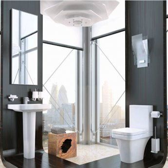 Prestige Coral Comfort Height Close Coupled Toilet Push Button Cistern Soft Close Seat