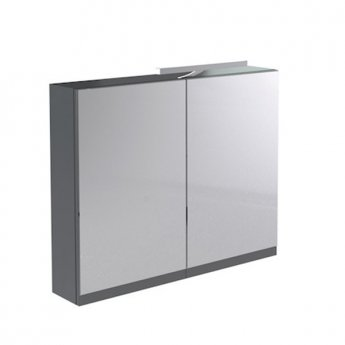 Prestige Cruz Mirror Cabinet with Light & Shaver Socket 800mm Wide Gloss Grey