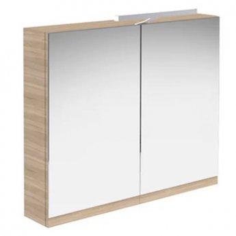 Prestige Cruz Mirror Cabinet with Light & Shaver Socket 800mm Wide Natural Oak
