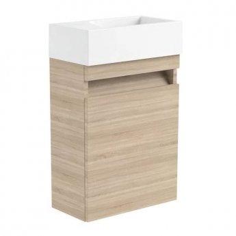 Prestige Cruz RH Wall Mounted Cloakroom Vanity Unit with Basin 400mm Wide - Natural Oak