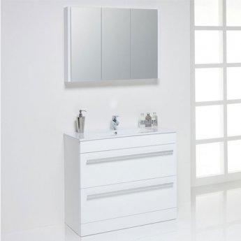 Prestige Elegance Mirrored Bathroom Cabinet 900mm W White