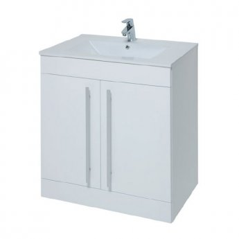 Prestige Elegance 2-Door Floor Standing Vanity Unit with Basin 750mm Wide White 1 Tap Hole