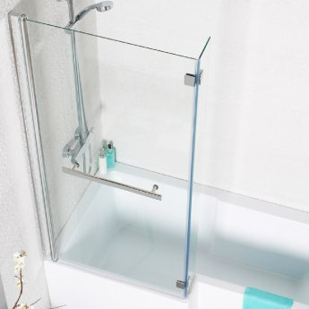 Prestige Elite L-Shape Shower Bath Screen with Towel Bar 1400mm H x 820mm W - 6mm