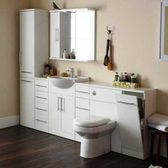 Prestige Evolve Bathroom Mirror with Cabinet and Lights 1050mm W White