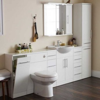Prestige Evolve Bathroom Mirror with Cabinet and Lights 850mm W White