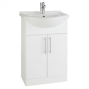Prestige Evolve Bathroom Vanity Unit and Basin 550mm Wide White 1 Tap Hole