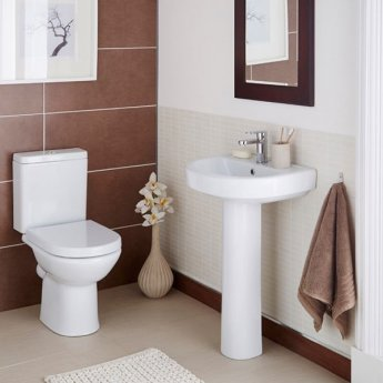 Prestige Felicite Close Coupled Back to Wall Toilet Push Button Cistern Soft Close Seat