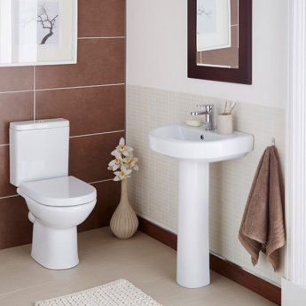 Prestige Felicite Comfort Height Close Coupled Toilet Push Button Cistern Soft Close Seat