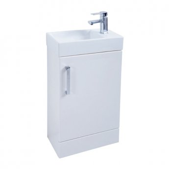 Prestige Fiji 1-Door Floor Standing Vanity Unit with Basin 450mm Wide White 1 Tap Hole