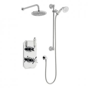 Prestige Klassique Option 3 Thermostatic Concealed Shower Valve with Adjustable Slide Rail Kit and Fixed Head - Chrome