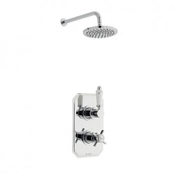 Prestige Klassique Option 2 Thermostatic Concealed Shower Valve with Fixed Shower Head and Arm - Chrome