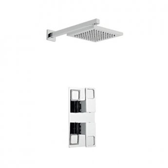 Prestige Kourt Option 2 Thermostatic Concealed Shower Valve with Fixed Shower Head and Arm - Chrome