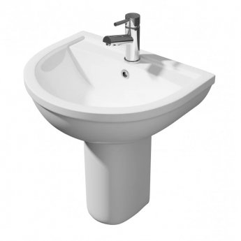 Prestige Lifestyle Basin with Semi Pedestal 450mm Wide 1 Tap Hole