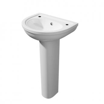 Prestige Lifestyle Basin with Full Pedestal 360mm Wide 2 Tap Hole
