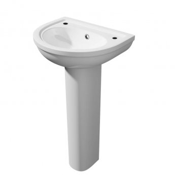 Prestige Lifestyle Basin with Full Pedestal 450mm Wide 2 Tap Hole