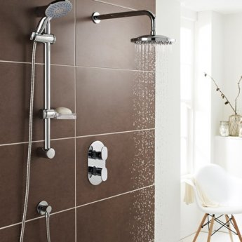 Prestige Logik Option 3 Thermostatic Concealed Shower Valve with Adjustable Slide Rail Kit and Fixed Head - Chrome