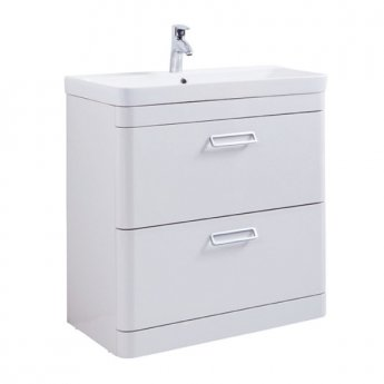 Prestige Marlow 2-Drawer Floor Standing Vanity Unit with Basin 800mm Wide White 1 Tap Hole