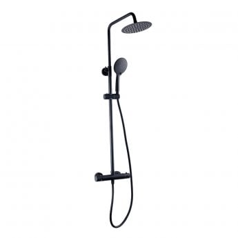 Prestige Nero Thermostatic Round Bar Shower Valve with Shower Kit and Fixed Head - Black