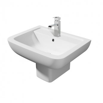 Prestige Options Basin with Square Semi Pedestal 550mm Wide 1 Tap Hole
