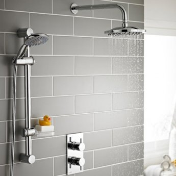 Prestige Plan Option 3 Thermostatic Concealed Shower Valve with Adjustable Slide Rail Kit and Fixed Head - Chrome