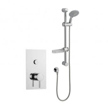 Prestige Plan Thermostatic Single Round Push Button Concealed Mixer Shower with Shower Kit