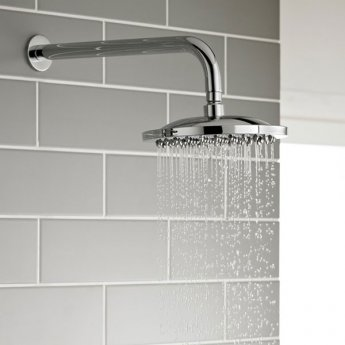 Prestige Plan Thermostatic Single Round Push Button Concealed Mixer Shower with Round Shower Head