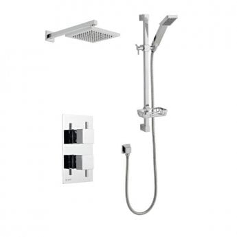 Prestige Pure Option 3 Thermostatic Concealed Shower Valve with Adjustable Slide Rail Kit and Fixed Head - Chrome