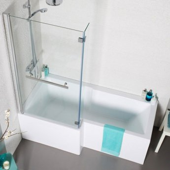 Prestige Tetris L-Shaped Shower Bath with Front Panel and Screen 1500mm x 700mm/850mm Left Handed