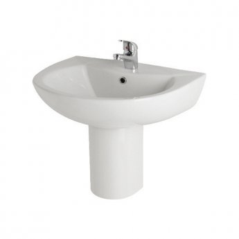Prestige Uranus Basin & Semi Pedestal 545mm Wide 1 Tap Hole