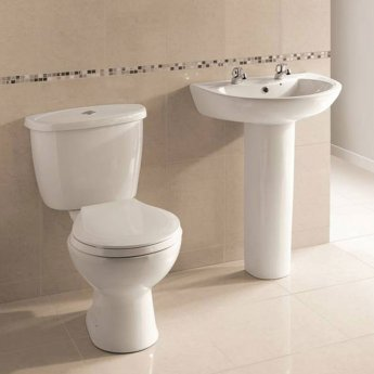 Prestige Uranus Basin & Full Pedestal 545mm Wide 2 Tap Hole