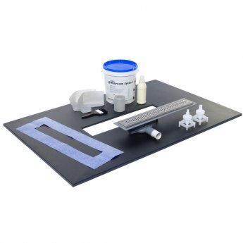 Purus Linear Centre Wet Room Former Kit, 1400mm x 920mm, 7sqm Tanking Liquid