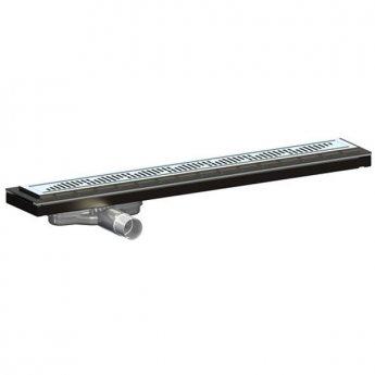 Purus Living Linear Low Wet Floor Drain, 600mm Wide, Stainless Steel Twist Grate