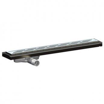 Purus Living Linear Low Wet Floor Drain, 800mm Wide, Stainless Steel Twist Grate
