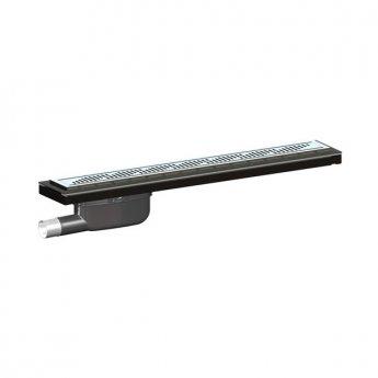 Purus Living Linear Parallel Wet Floor Drain, 600mm Wide, Stainless Steel Twist Grate