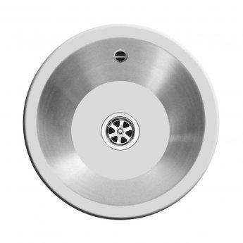 Pyramis Royal Mini 1.0 Round Bowl Kitchen Sink with Waste Kit 355mm Diameter - Stainless Steel