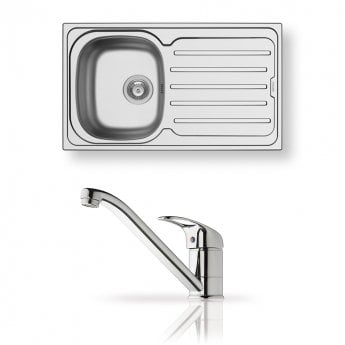 Pyramis Vera 1.0 Bowl Inset Kitchen Sink with Sink Mixer Tap and Waste Kit 860mm L x 500mm W - Stainless Steel