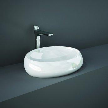 RAK Cloud Sit-On Countertop Basin 600mm Wide 0 Tap Hole - Alpine White