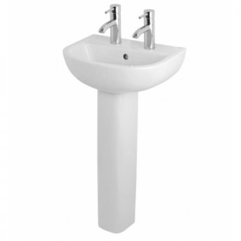 RAK Compact Basin with Full Pedestal - 450mm Wide - 2 Tap Hole