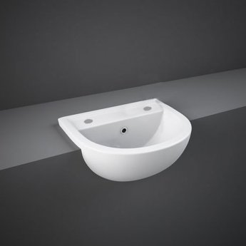 RAK Compact Semi Recessed Basin 450mm Wide - 2 Tap Hole