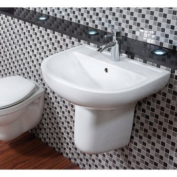 RAK Compact Basin & Semi Pedestal 550mm Wide 1 Tap Hole