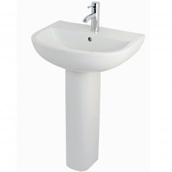 RAK Compact Basin & Full Pedestal 550mm Wide 1 Tap Hole
