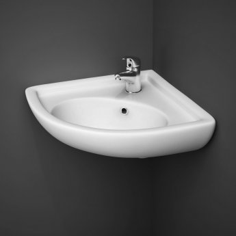 RAK Compact Corner Cloakroom Basin 440mm Wide 1 Tap Hole
