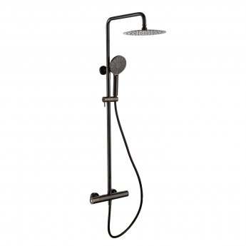 RAK Compact Thermostatic Round Bar Mixer Shower with Shower Kit + Fixed Head - Black Chrome
