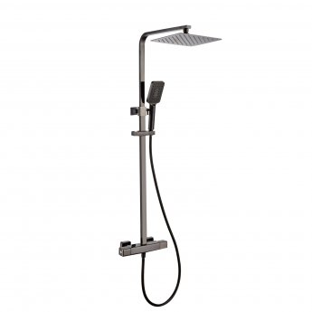 RAK Compact Thermostatic Square Bar Mixer Shower with Shower Kit + Fixed Head - Black Chrome