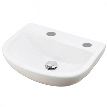 RAK Compact Special Needs Cloakroom Basin 500mm Wide 2 Tap Hole