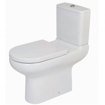 RAK Compact Extended Deluxe 455mm High Rimless Close Coupled Toilet Pan - Push Button Cistern