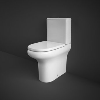 RAK Compact Rimless Full Access Close Coupled Toilet with Horizontal Outlet WC excluding Seat