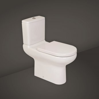 RAK Compact Extended Deluxe Rimless Full Access Close Coupled Toilet with Side Lever Cistern - Excluding Seat